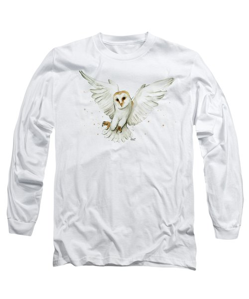 Barn Owl Flying Watercolor Long Sleeve T-Shirt