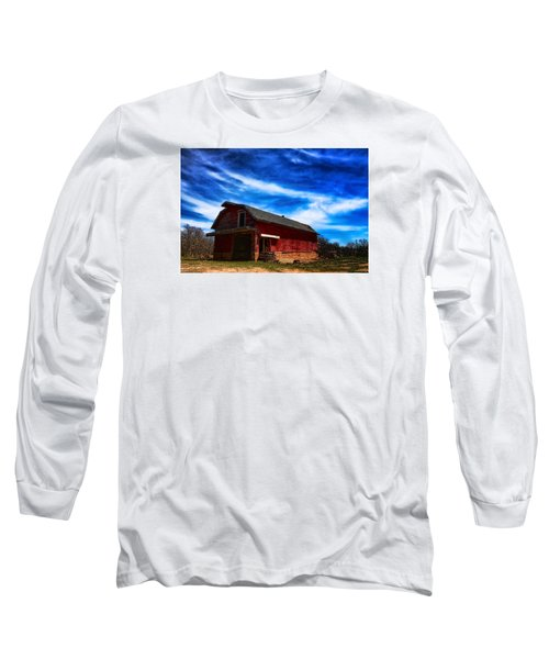 Long Sleeve T-Shirt featuring the photograph Barn Under Blue Sky by Toni Hopper
