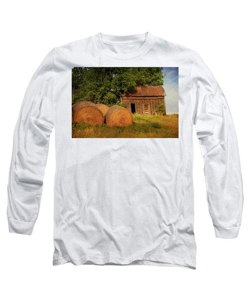 Barn With Haybales Long Sleeve T-Shirt