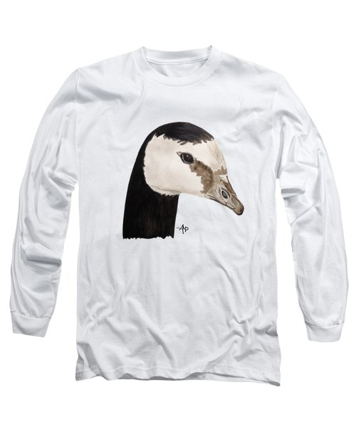 Barnacle Goose Portrait Long Sleeve T-Shirt by Angeles M Pomata