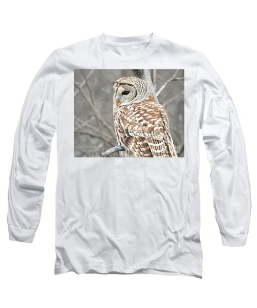 Barred Owl Close-up Long Sleeve T-Shirt by Kathy M Krause