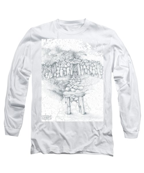 Long Sleeve T-Shirt featuring the drawing Barrow Tomb by Curtiss Shaffer