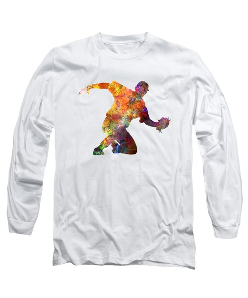 Baseball Player Catching A Ball Long Sleeve T-Shirt by Pablo Romero