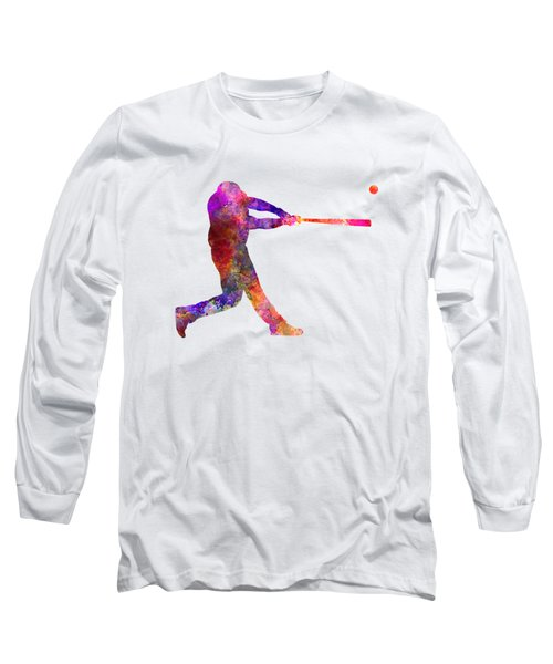 Baseball Player Hitting A Ball 01 Long Sleeve T-Shirt by Pablo Romero