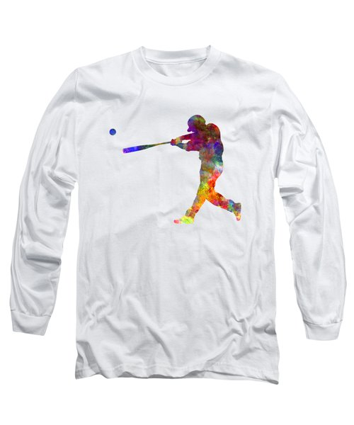 Baseball Player Hitting A Ball 02 Long Sleeve T-Shirt by Pablo Romero
