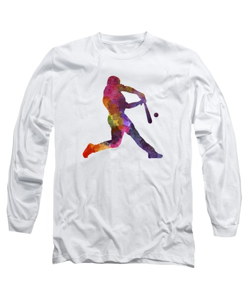 Baseball Player Hitting A Ball Long Sleeve T-Shirt by Pablo Romero