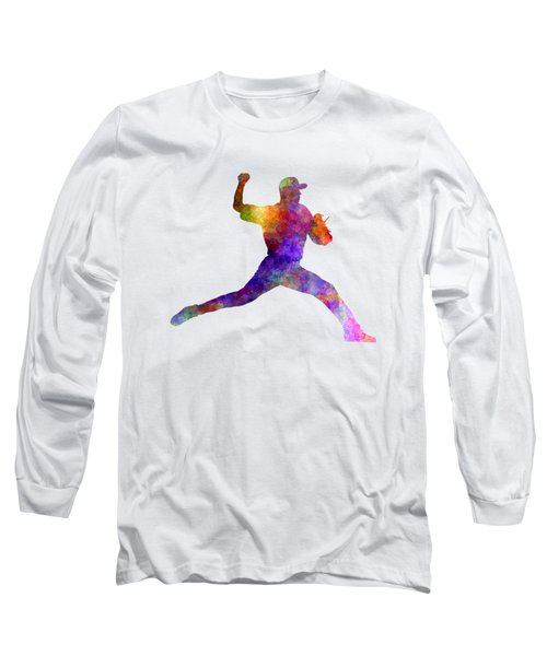 Baseball Player Throwing A Ball 01 Long Sleeve T-Shirt by Pablo Romero