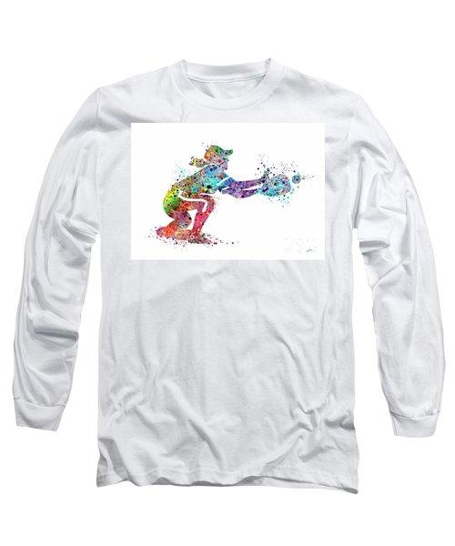 Baseball Softball Catcher 2 Sports Art Print Long Sleeve T-Shirt by Svetla Tancheva