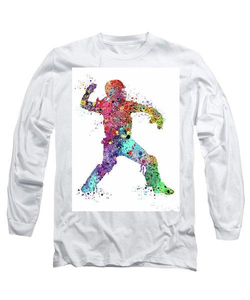Baseball Softball Catcher 3 Watercolor Print Long Sleeve T-Shirt