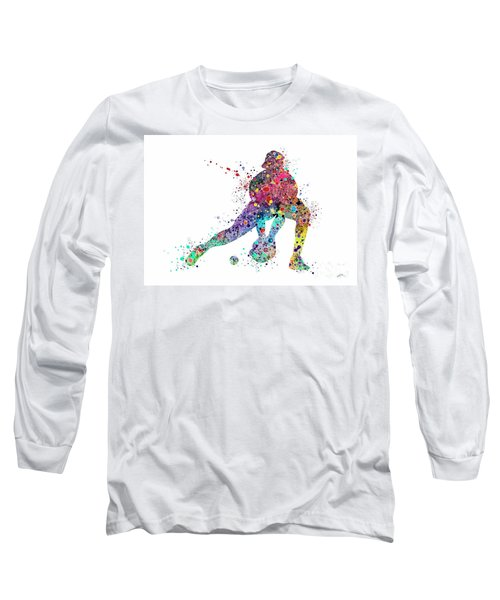 Baseball Softball Catcher Sports Art Print Long Sleeve T-Shirt