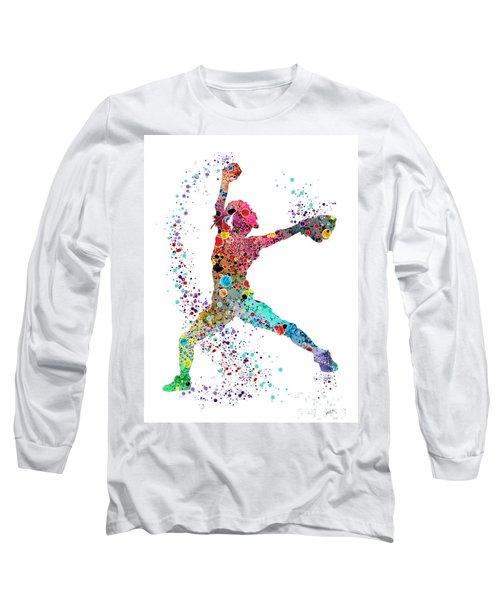 Baseball Softball Pitcher Watercolor Print Long Sleeve T-Shirt by Svetla Tancheva