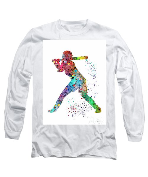Baseball Softball Player Long Sleeve T-Shirt by Svetla Tancheva