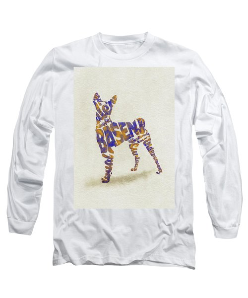 Long Sleeve T-Shirt featuring the painting Basenji Dog Watercolor Painting / Typographic Art by Inspirowl Design