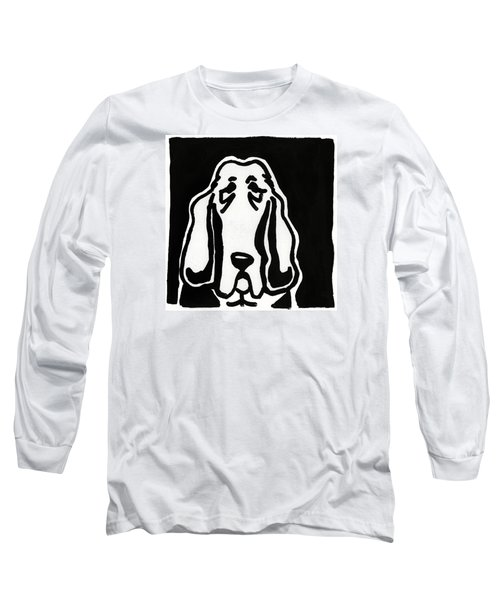 Long Sleeve T-Shirt featuring the drawing Basset Hound Ink Sketch by Leanne WILKES