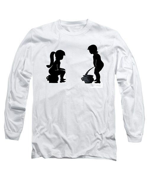 Bathroom Silhouettes Long Sleeve T-Shirt by Sally Weigand