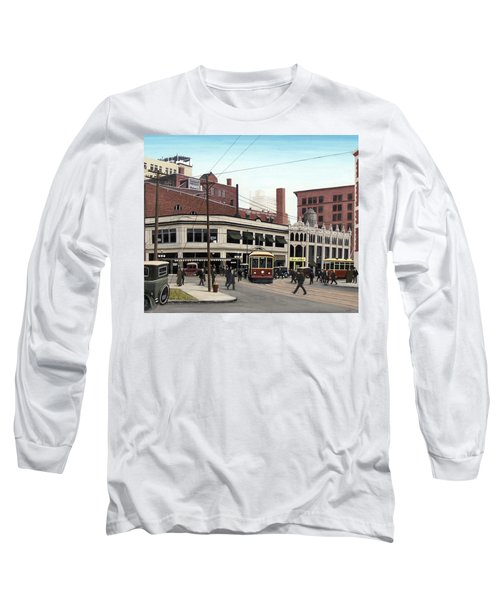 Long Sleeve T-Shirt featuring the painting Bay And Queen Streets C1940 by Kenneth M Kirsch