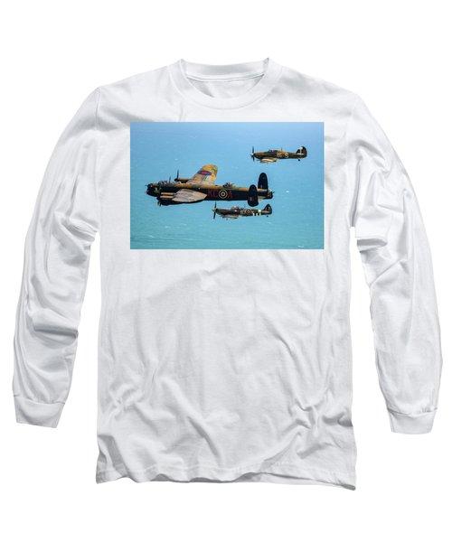Bbmf Eastbourne Beachy Head Flypast Long Sleeve T-Shirt by Ken Brannen