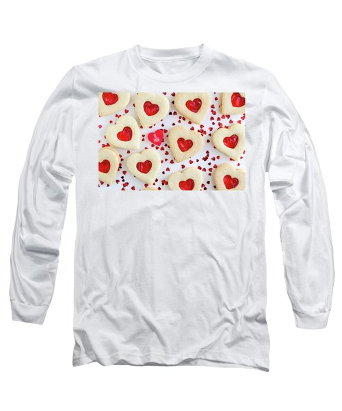 Long Sleeve T-Shirt featuring the photograph Be Mine Heart Cookies by Teri Virbickis