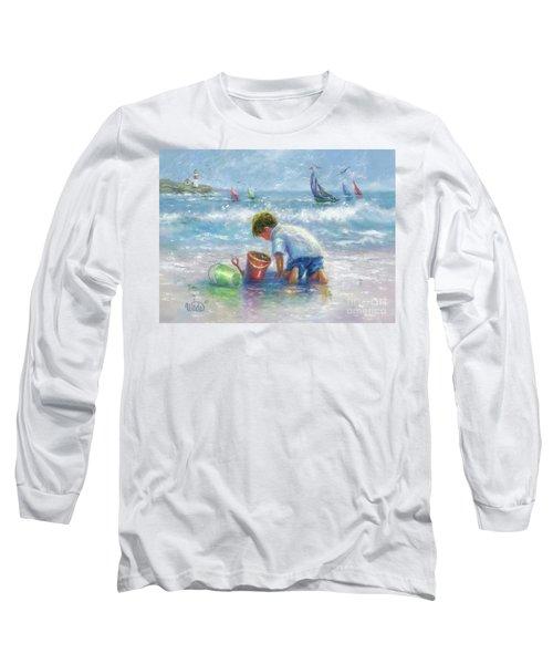 Beach Boy Sand And Sailboats Long Sleeve T-Shirt