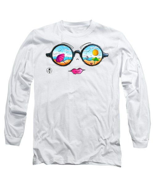 Beach Day Sunglass Design From The Sunnie Tees 2016 Collection Long Sleeve T-Shirt by Megan Duncanson