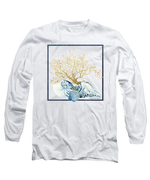 Beach House Nautilus Scallop N Conch With Tan Fan Coral Long Sleeve T-Shirt