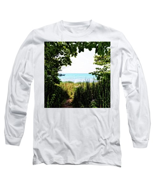 Long Sleeve T-Shirt featuring the photograph Beach Path With Snake Grass by Michelle Calkins