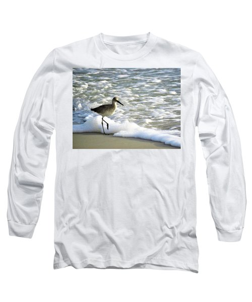 Beach Sandpiper Long Sleeve T-Shirt by Kathy Long