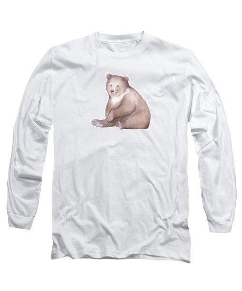 Long Sleeve T-Shirt featuring the painting Bear Watercolor by Taylan Apukovska