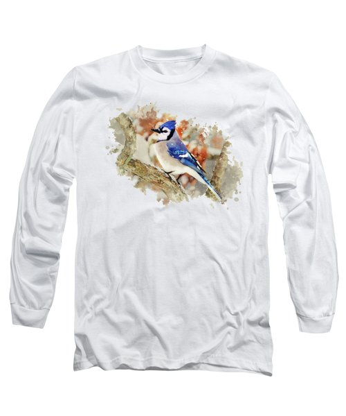 Beautiful Blue Jay - Watercolor Art Long Sleeve T-Shirt by Christina Rollo