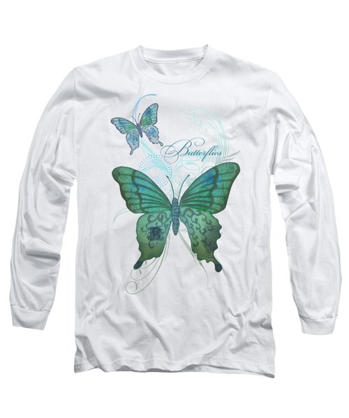 Beautiful Butterflies N Swirls Modern Style Long Sleeve T-Shirt by Audrey Jeanne Roberts