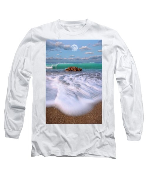 Beautiful Waves Under Full Moon At Coral Cove Beach In Jupiter, Florida Long Sleeve T-Shirt by Justin Kelefas