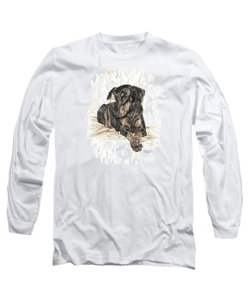 Beauty Pose - Doberman Pinscher Dog With Natural Ears Long Sleeve T-Shirt by Kelli Swan