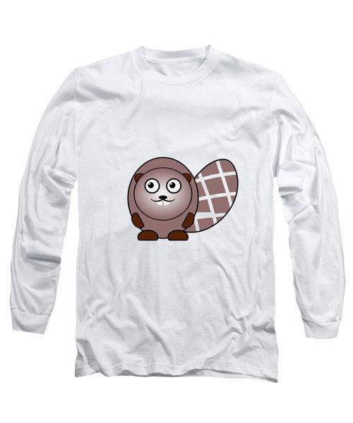 Beaver - Animals - Art For Kids Long Sleeve T-Shirt by Anastasiya Malakhova