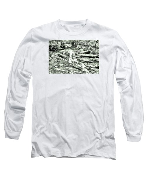 Becky Branch Falls In Green Monochrome Long Sleeve T-Shirt by James Potts