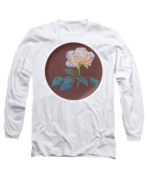 Long Sleeve T-Shirt featuring the digital art Bedazzed Rose Plate by R  Allen Swezey