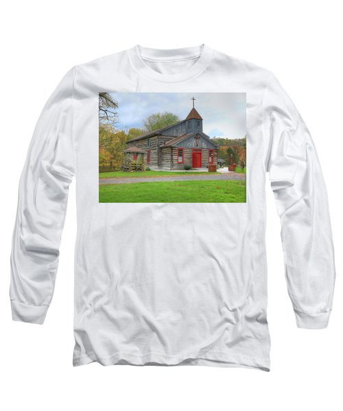 Long Sleeve T-Shirt featuring the digital art Bedford Village Church by Sharon Batdorf
