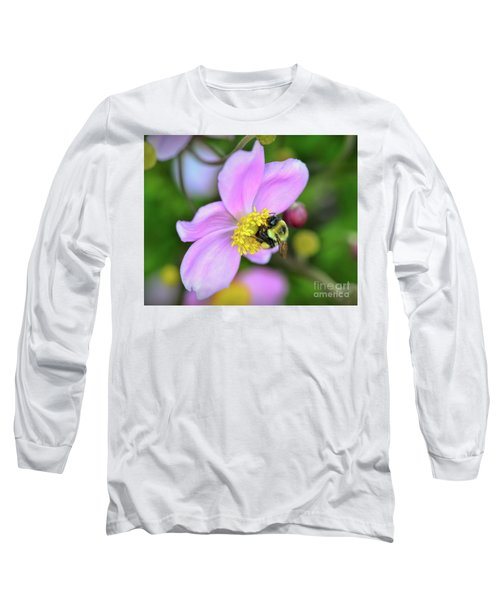 Long Sleeve T-Shirt featuring the photograph Bee And Japanese Anemone by Kerri Farley