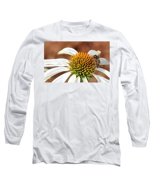 Long Sleeve T-Shirt featuring the photograph Bee In The Echinacea  by AJ Schibig
