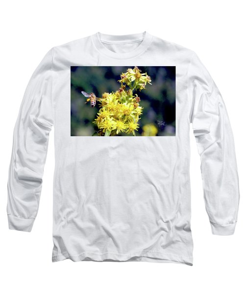 Long Sleeve T-Shirt featuring the photograph Bee On Goldenrod by Meta Gatschenberger