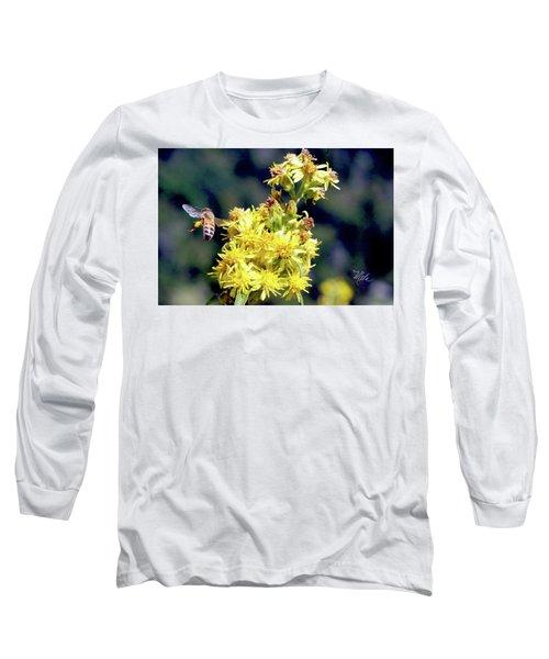 Bee On Goldenrod Long Sleeve T-Shirt by Meta Gatschenberger
