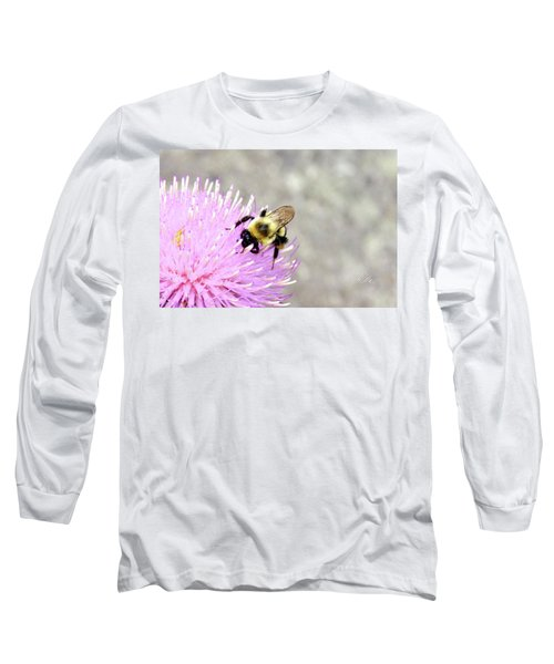 Long Sleeve T-Shirt featuring the photograph Bee On Pink Bull Thistle by Meta Gatschenberger