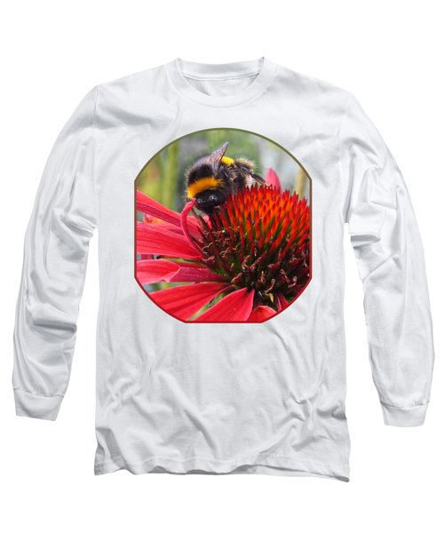 Bee On Red Coneflower Vertical Long Sleeve T-Shirt