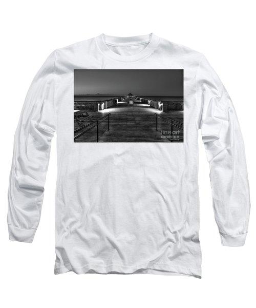 Long Sleeve T-Shirt featuring the photograph Before Dawn Folly Beach Pier Charleston Sc Art by Reid Callaway