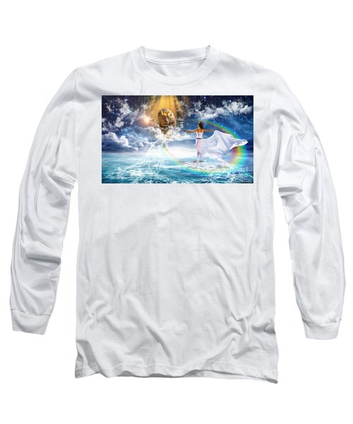 Long Sleeve T-Shirt featuring the digital art Behold, He Is Coming  by Dolores Develde