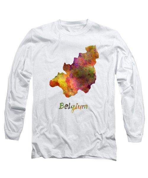 Belgium In Watercolor Long Sleeve T-Shirt