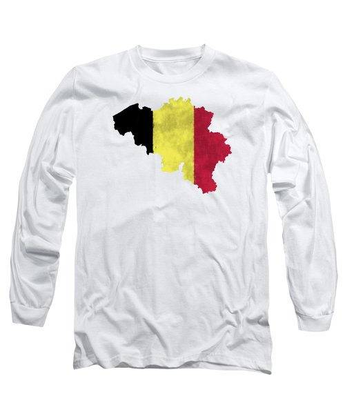 Belgium Map Art With Flag Design Long Sleeve T-Shirt