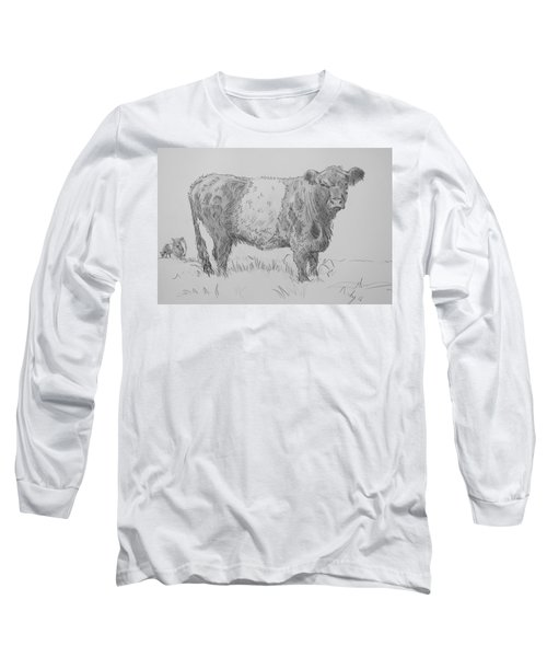 Belted Galloway Cow Pencil Drawing Long Sleeve T-Shirt