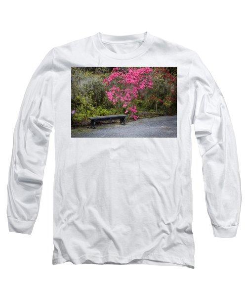 Bench In Azalea Garden Long Sleeve T-Shirt
