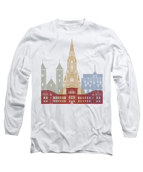 Bergen Skyline Poster Long Sleeve T-Shirt