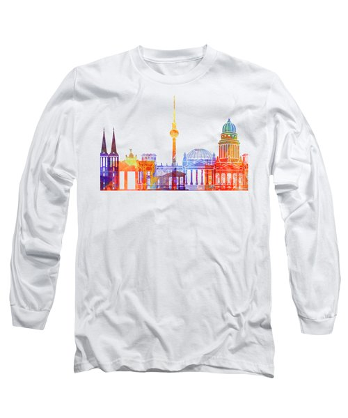 Berlin Landmarks Watercolor Poster Long Sleeve T-Shirt by Pablo Romero